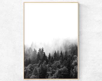 Forest photography, Mountain Forest Wall Art, Pine tree forest, Nature Digital Print, Black And White Misty Forest Poster, Nordic Modern Art