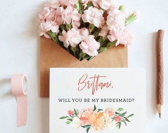 Custom name Will you be my bridesmaid? Bridesmaid proposal card, Maid of honor proposal card, Sister in law card, wedding card / SKU: LNBM14