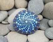 RESERVED FOR JOSE Blue Painted Rock - Mandala Stone - Hand-painted Meditation Mandala Stone - Geometry - Mandala Art - Painted Stone