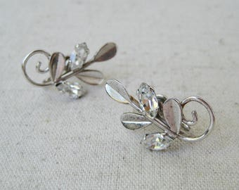 Van Dell Leaf Earrings, Vintage Screw On Earrings, Sterling Silver, Rhinestone Earrings, Woodland Wedding, Bridal Jewelry, Gift For Her