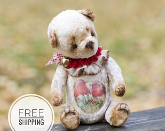 Pink toy beige Bear teddy Artist teddy bear Pink bear beige Plush toy bear collection Gift for woman Plush teddy bear Toy bear ooak Toy bear