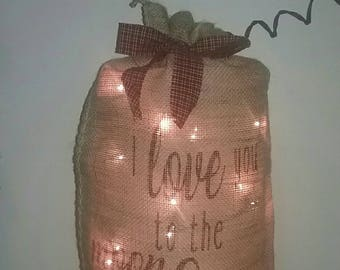 Lighted Burlap Sack Burlap Bag Country Decor Primitive Country Decor Farmhouse