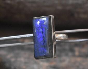 size-7us blue labradorite ring,deep blue labradorite,92.5 silver ring,labradorite ring,labradorite cabochon ring