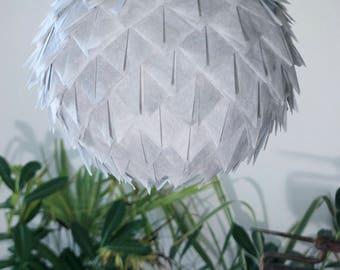 Hanging paper lamp/lighting handmade/Charcoal grey paper lamp/Japanese lamp « Grey Cactus Flower».