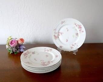 5 Haviland Limoges Salad Plates, Vintage French Limoges porcelain, Pink rose plates, Haviland France china Pink flower, Haviland dinnerware