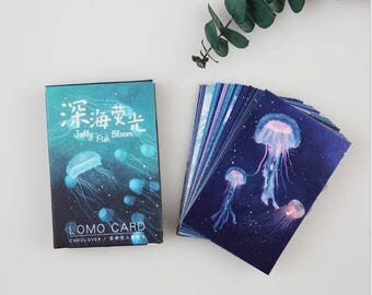 28 Pc Pk ~ Blue Sea Sunning Jellyfish Lomo Cards ~ Mini Cards, Scrapbooking, Mini Postcard, Jelly Fish, Ocean Stationery, Penpal, Gift Tag