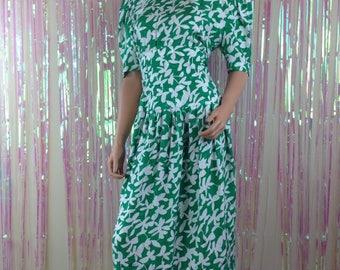 Vintage Maggy London by Jeannene Booher 80s silk green floral Hawaiian dress D6