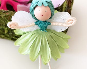 Fairy Doll, Blue Green Flower Fairy Doll, Handmade Doll, Fairy Bendy Doll, Party Favor, Birthday Gift for Girl, Flower Girl Gift
