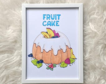 "Original illustration with frame-""fruit cake"""