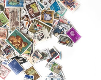 100pc Vintage World Wide Postage Stamps