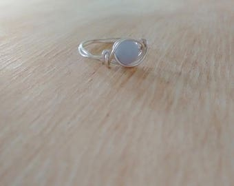 Wire Wrapped Blue Lace Agate Ring