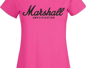 Marshall Amplification T Shirt Guitar Classic Amp Logo Music Fender Gibson Birthday Gift Women Ladies Lady Tee Top