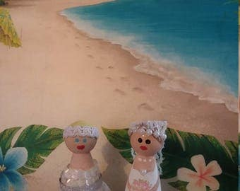 Bride peg people Cake Topper