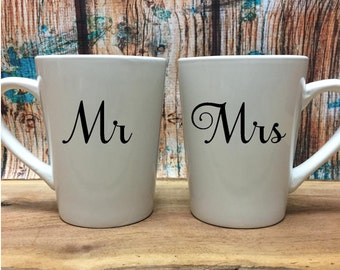 Mr and Mrs Coffee Mugs - Newlywed Cups - Anniversary Gift - Wedding Gift - Engagement Gift - Bride and Groom Gift - Valentines Day Gift