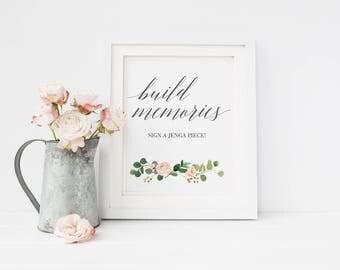 Jenga Guest Book Sign, Wedding Jenga, Jenga Sign, Jenga Guest Book, Jenga Wedding, guest book alternative, Build memories Sign #MG001