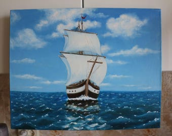 """Painting """"Sailboat"""", painting on canvas, with the author's signature, 15.74х19.68inches (40х50 cm)"""