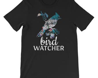 Bird Watcher Bird Watching Birdwatching Birding Aviary Ornithology Nature Outdoors Bird Identification Nature Study Short-Sleeve Mens Womens