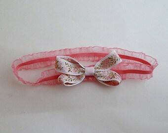 flower bow baby headband/ruffle elastic headband