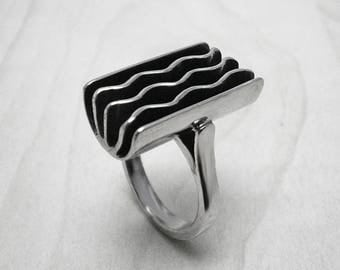 Silver ring,contemporary ring,wave ring,minimalist ring,modern ring,coworker gift ring,statement ring,silver modern ring,simple silver ring