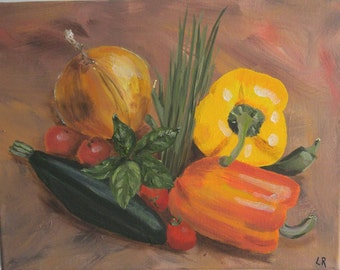 """Original Acrylic Painting Vegetables, 11x14 Kitchen Art, For Her, For Foodie, by NJ artist Linda Robinson """"Summer Fresh"""""""