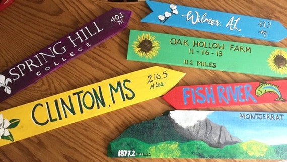 Any Custom Set of 6 Destination signs, Custom Directional sign, Lake house signs, Beach house sign, tiki bar sign, mile marker sign