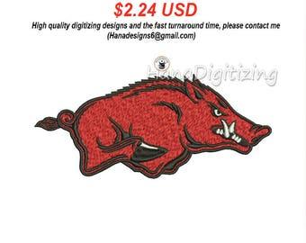 Arkansas Razorbacks Logo Machine Embroidery Design 3 Sizes