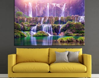 Large Colorful Jiulong waterfall in Luoping Photoprint Multi Panel Canvas Print, Nature Wall Art Decoration Extra Large Print Ready to Hang