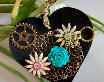 Gothic Steampunk hanging heart keepsake for her Wooden One of a kind Mothers Day Gift