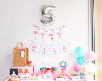 Printable flamingo birthday party package