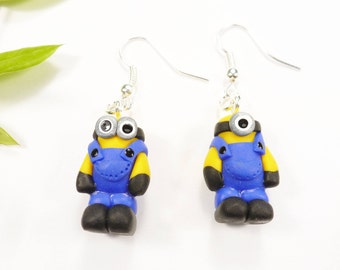 These earrings cute character inspired blue minion child fimo unusual original gift idea