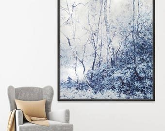Blue Thicket: Original painting on canvas, forest, landscape, large painting 48x60, modern art, wall decor, oil painting