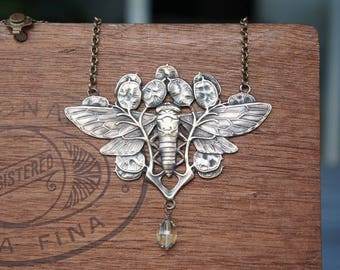 Art Nouveau Moth Necklace with Green Amethyst Drop French Brass Antique Vintage Style