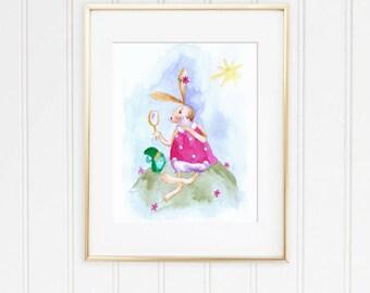 baby girl Nursery Art Print, Baby Bunny Nursery, Baby Shower Gift, Girl  Nursery Print, girls room print, Baby Bunny Print, Baby Rabbit Art