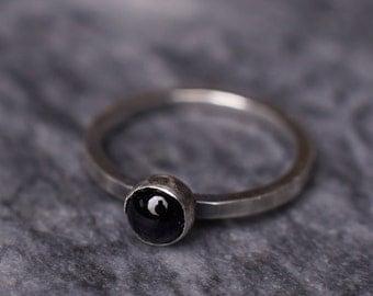 Onyx Blacklite Ring - Oxidised Sterling Silver