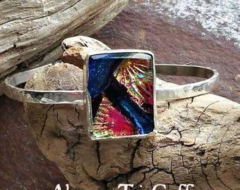 Ashes in Glass Aurora Always Tri Memorial Cuff Bracelet in Sterling Silver, Pet Memorials, Cremation Jewelry