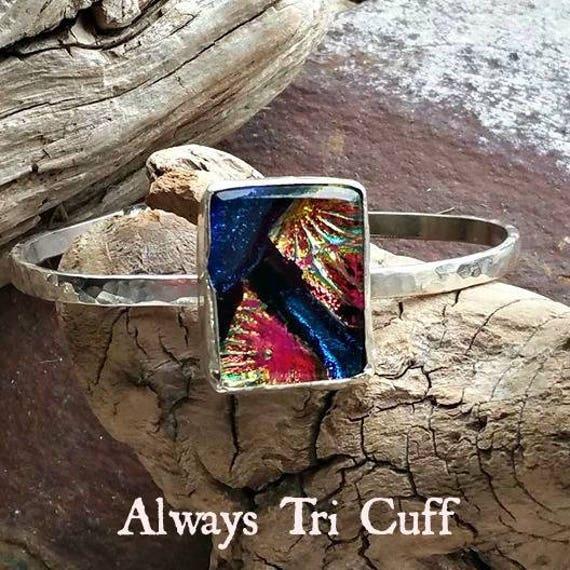 Memorial Blown Glass Cuff Bracelet in Sterling Silver