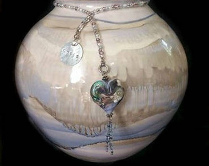 Large Raku Fired Porcelain Urn with Matching Blown Glass Pendant, Pet Memorials, Ashes in Glass