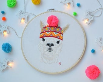 PDF Digital Download, Llama Embroidery Pattern, Modern Embroidery Pattern, Lars the Llama