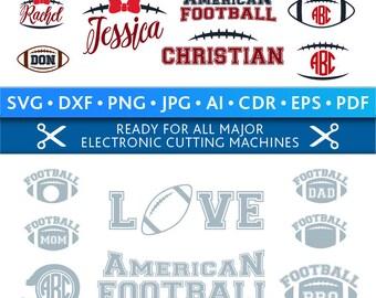 Football Svg Football Monogram Frames Svg Football Frames Svg Football Cut Files Silhouette Studio Cricut Svg Dxf Jpg Png Eps Pdf Ai Cdr