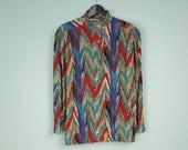 pattern shirt, colorful vintage blouse, 90s vintage shirt, multicolor zigzag pattern blouse, padded shoulders, colorful vintage top
