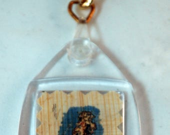 "Traditional Sicilian Papyrus Keychain ""Map of Sicily"""