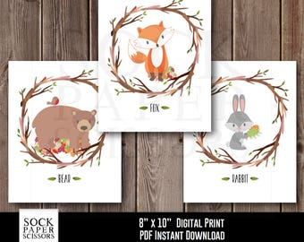 Printable Woodland Nursery Art, Forest Animal Nursery Art, Woodland Digital Download, Forest Animals Wall Art, Nursery Set of 3 SKU-RNA115A