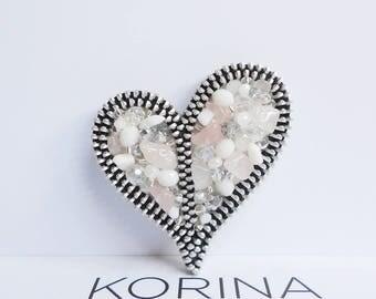 Asymmetrical Heart Brooch - Love Brooch - Zipper Brooch - Zipper Jewelry - Glass Bead Jewelry - Rose Quartz