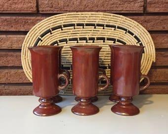 Vintage Hand Painted Ceramic Mug Glasses- Set of 6