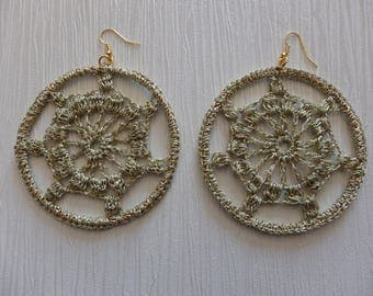 Golden crocheted earrings, golden hoop earrings
