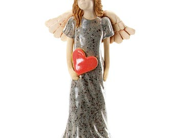 Grey Angel Figurine | Red Heart | Quirky Ceramics | Contemporary Design | Clean & Simple Lines