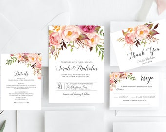Wedding Invite Set, Floral Wedding Invitation, Watercolor, Rustic Invite, Printable Wedding Invitation Set, Sierra Collection