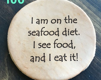 Seafood Diet - Funny Leather Coasters