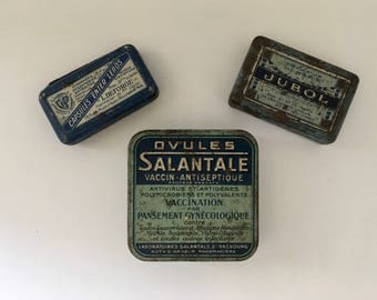 Set of 3 boxes old medicine Jubol Salantale Leros french old iron boxes of medicines
