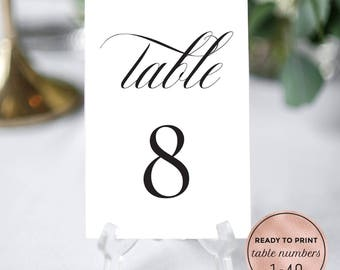 Wedding Table Numbers Printable Download. Calligraphy Wedding Table Numbers. 4x6, 5x7 DIY Wedding Table Numbers 1-40. PDF Instant Download.